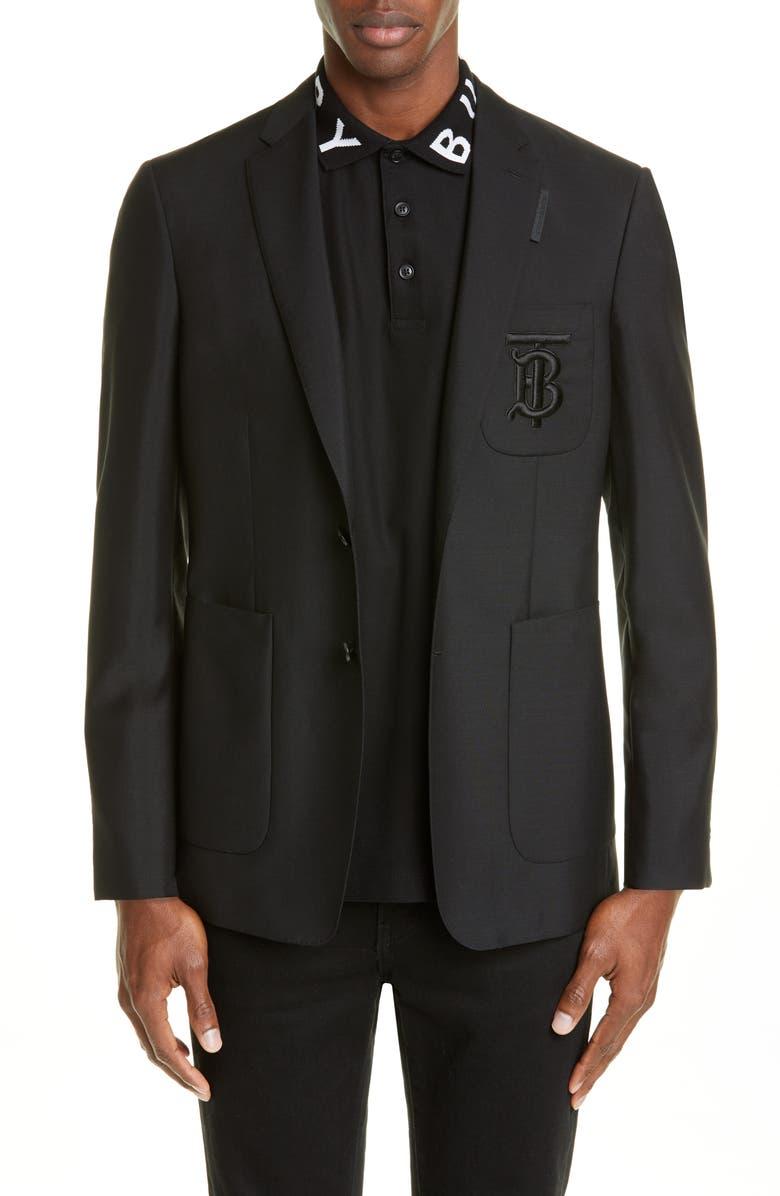 BURBERRY Monogram Slim Fit Wool & Mohair Sport Coat, Main, color, BLACK