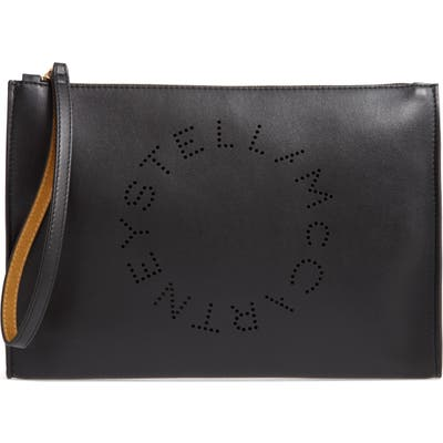 Stella Mccartney Pochette Faux Leather Zip Pouch - Black
