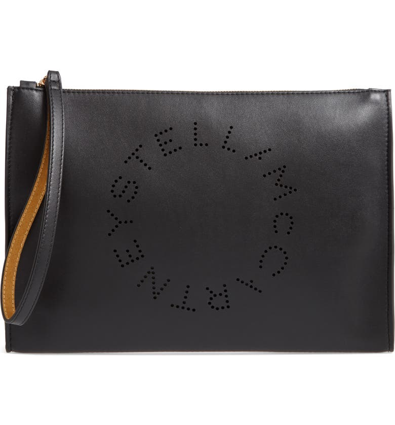 STELLA MCCARTNEY Pochette Faux Leather Zip Pouch, Main, color, BLACK