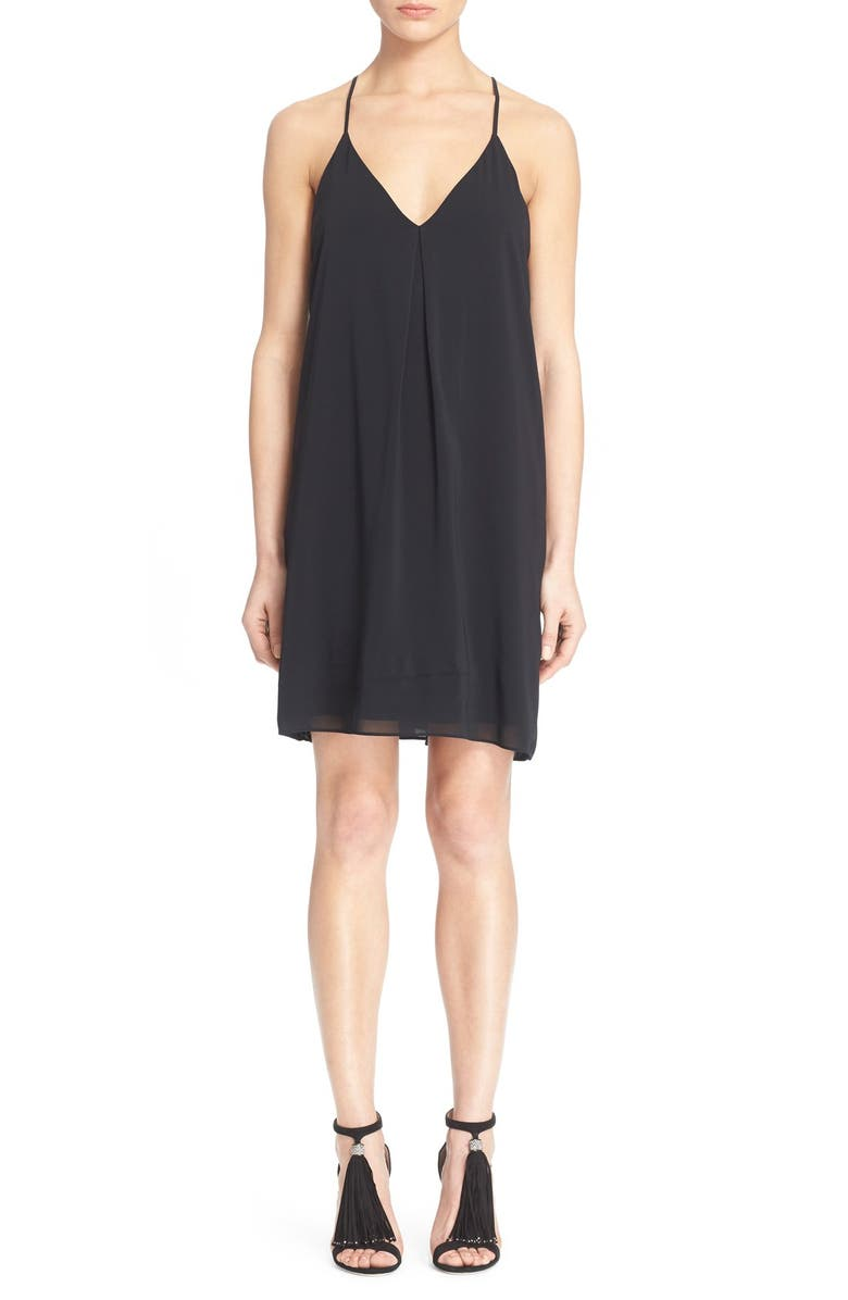 ALICE + OLIVIA Fierra Stretch Silk Slipdress, Main, color, BLACK