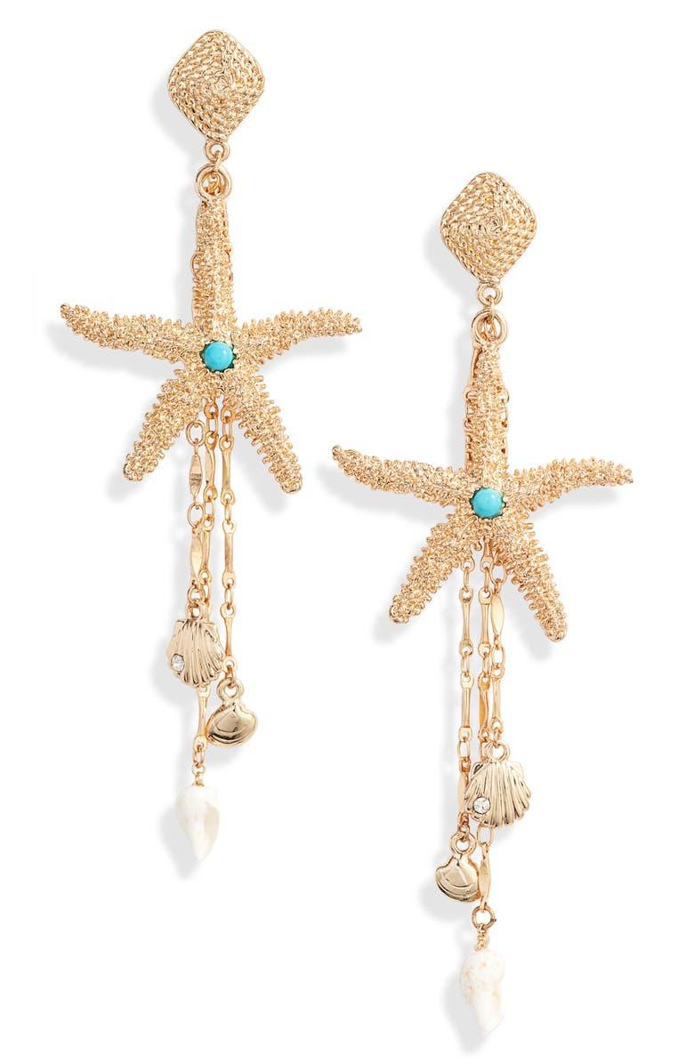 ETTIKA Starfish Seeker Drop Earrings, Main, color, GOLD
