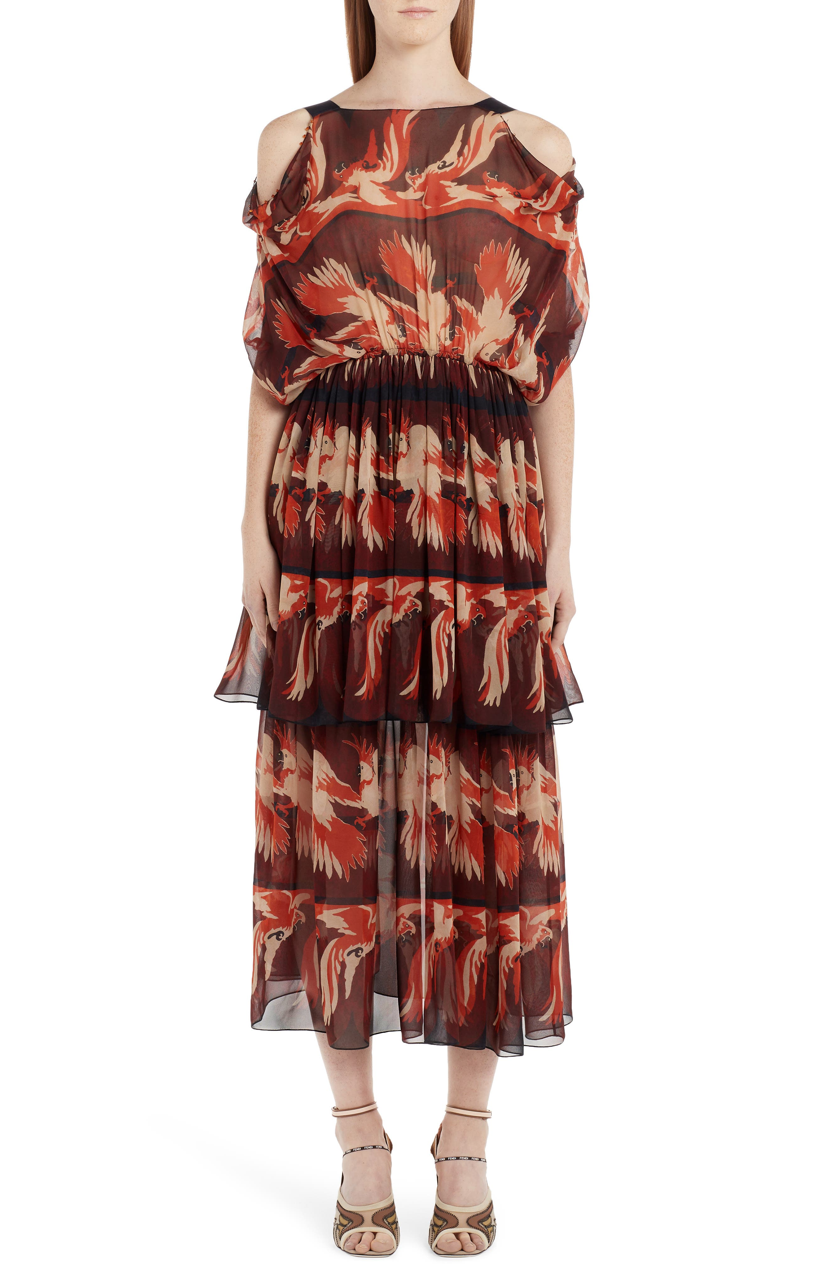Fendi Parakeet Print Cold Shoulder Silk Dress