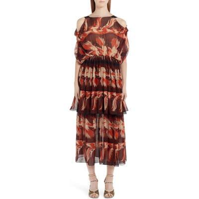 Fendi Parakeet Print Cold Shoulder Silk Dress, US / 46 IT - Brown