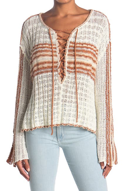 Image of Free People Marina Bay Lace-Up Sweater