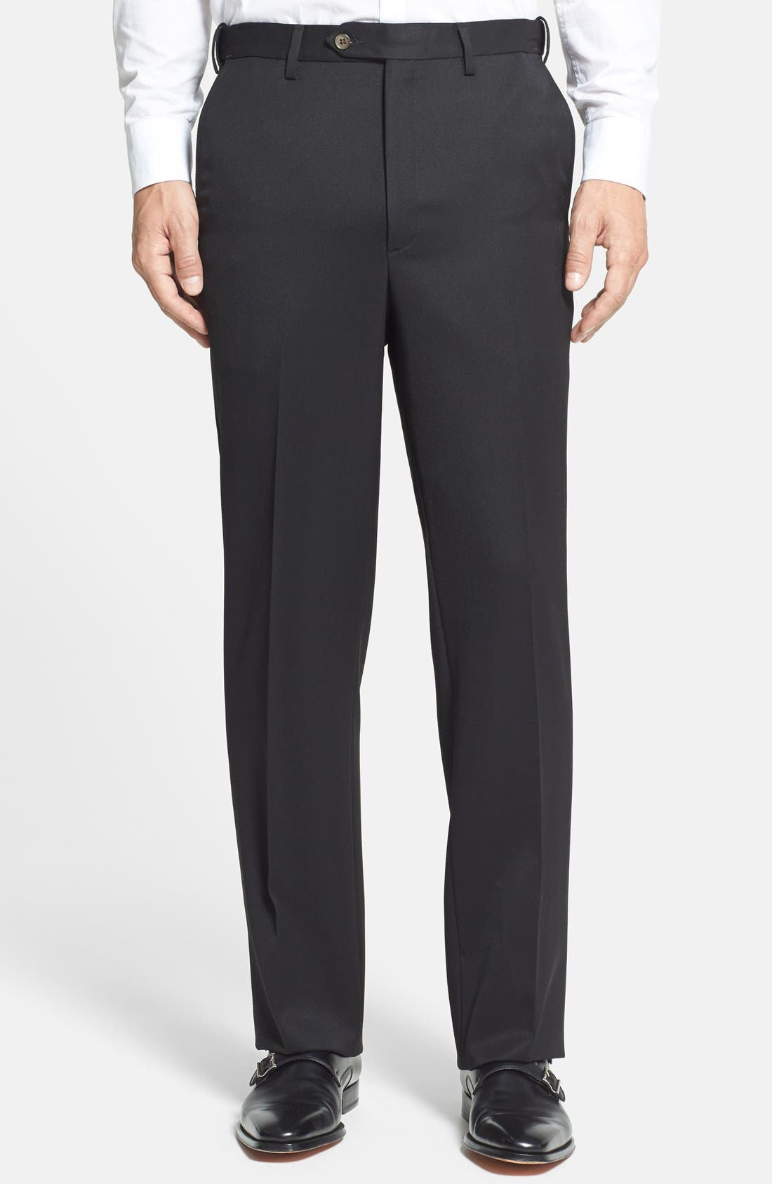 Self Sizer Waist Flat Front Classic Fit Wool Gabardine Trousers