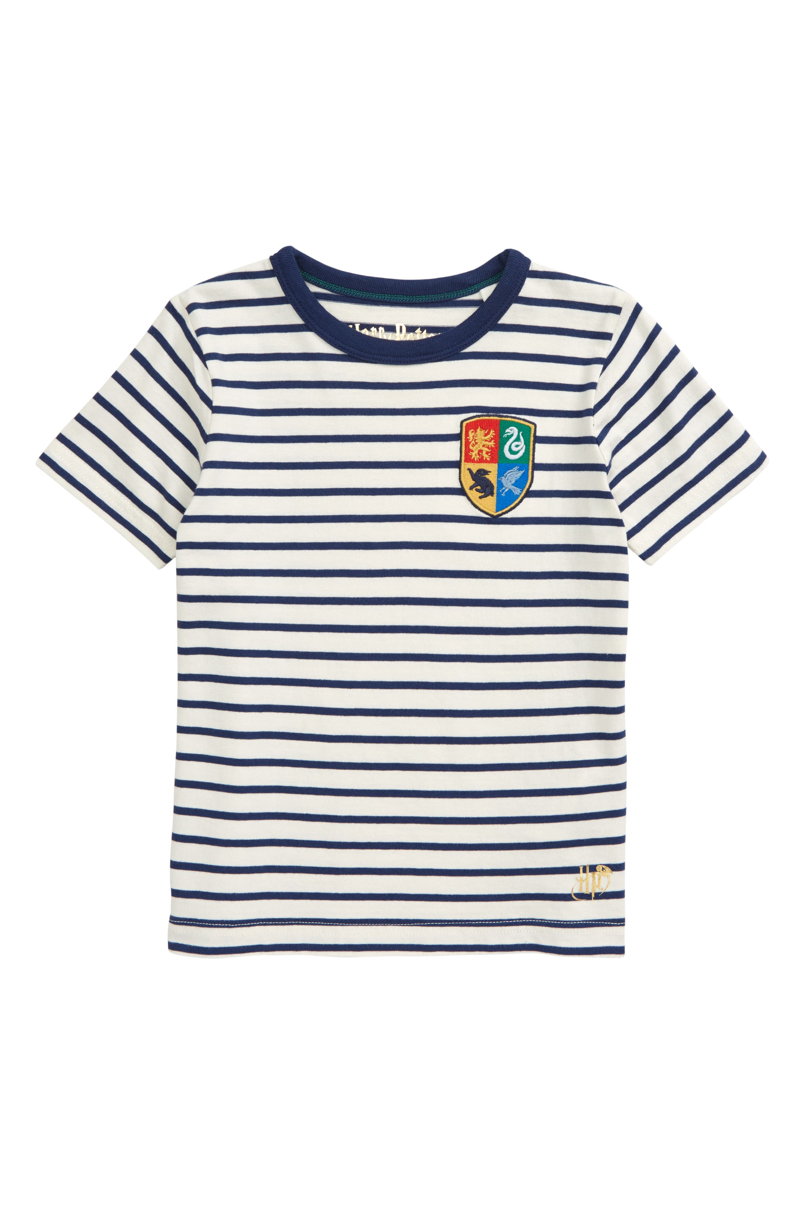 Colorful stripes race like Quidditch players around a soft cotton T-shirt marked with definite evidence of wizardry. Style Name: Mini Boden X Harry Potter Hogwarts Breton Stripe T-Shirt (Toddler, Little Boy & Big Boy). Style Number: 6039382. Available in stores.