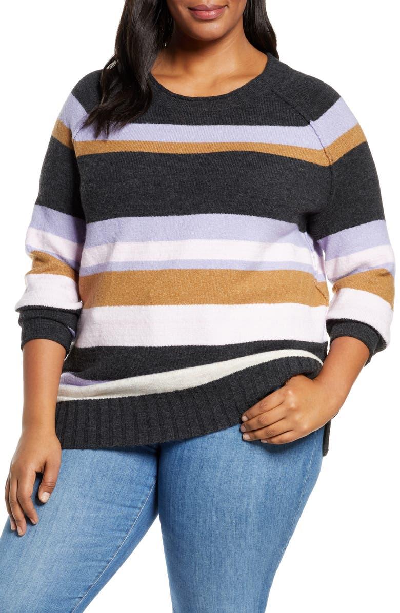 CASLON<SUP>®</SUP> Cozy Crewneck Sweater, Main, color, GREY HTR MULTI MARL STP
