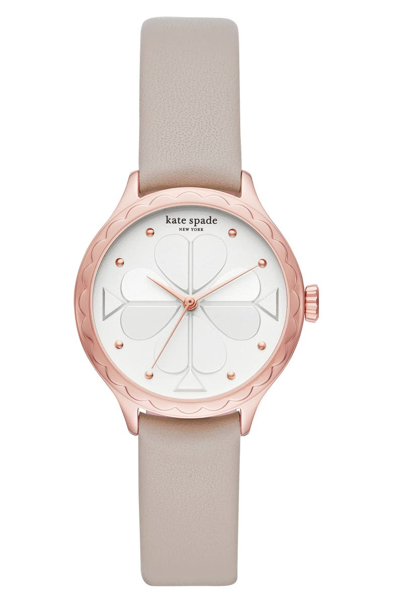 KATE SPADE NEW YORK rosebank scallop leather strap watch, 32mm, Main, color, GREY/ WHITE/ ROSE GOLD