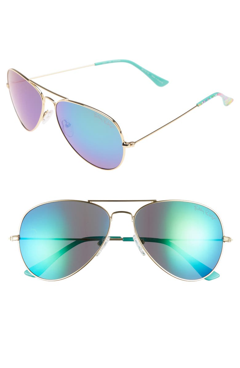 Lexy 59mm Polarized Aviator Sunglasses, Main, color, BLUE