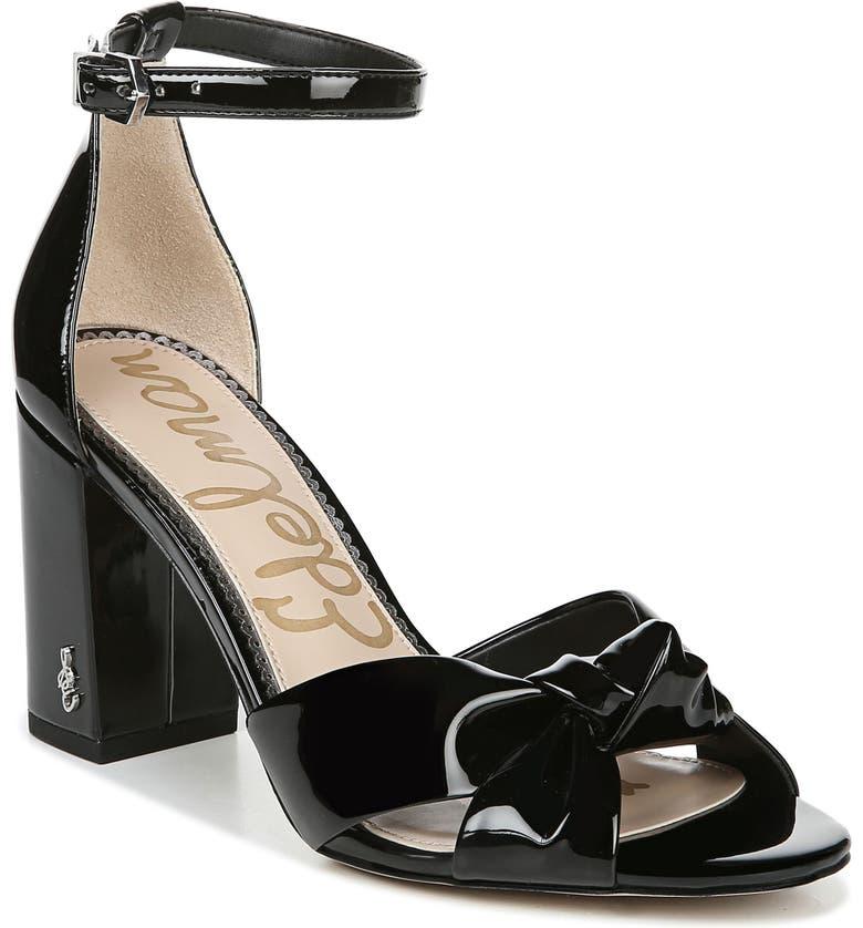 SAM EDELMAN Odina Block Heel Sandal, Main, color, BLACK FAUX PATENT LEATHER