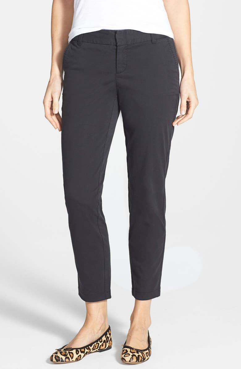 CASLON<SUP>®</SUP> Chino Crop Pants, Main, color, 001