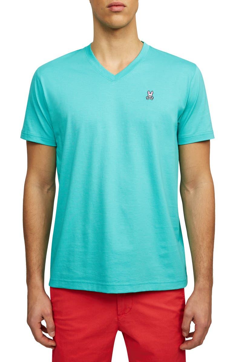 PSYCHO BUNNY Solid V-Neck T-Shirt, Main, color, 400