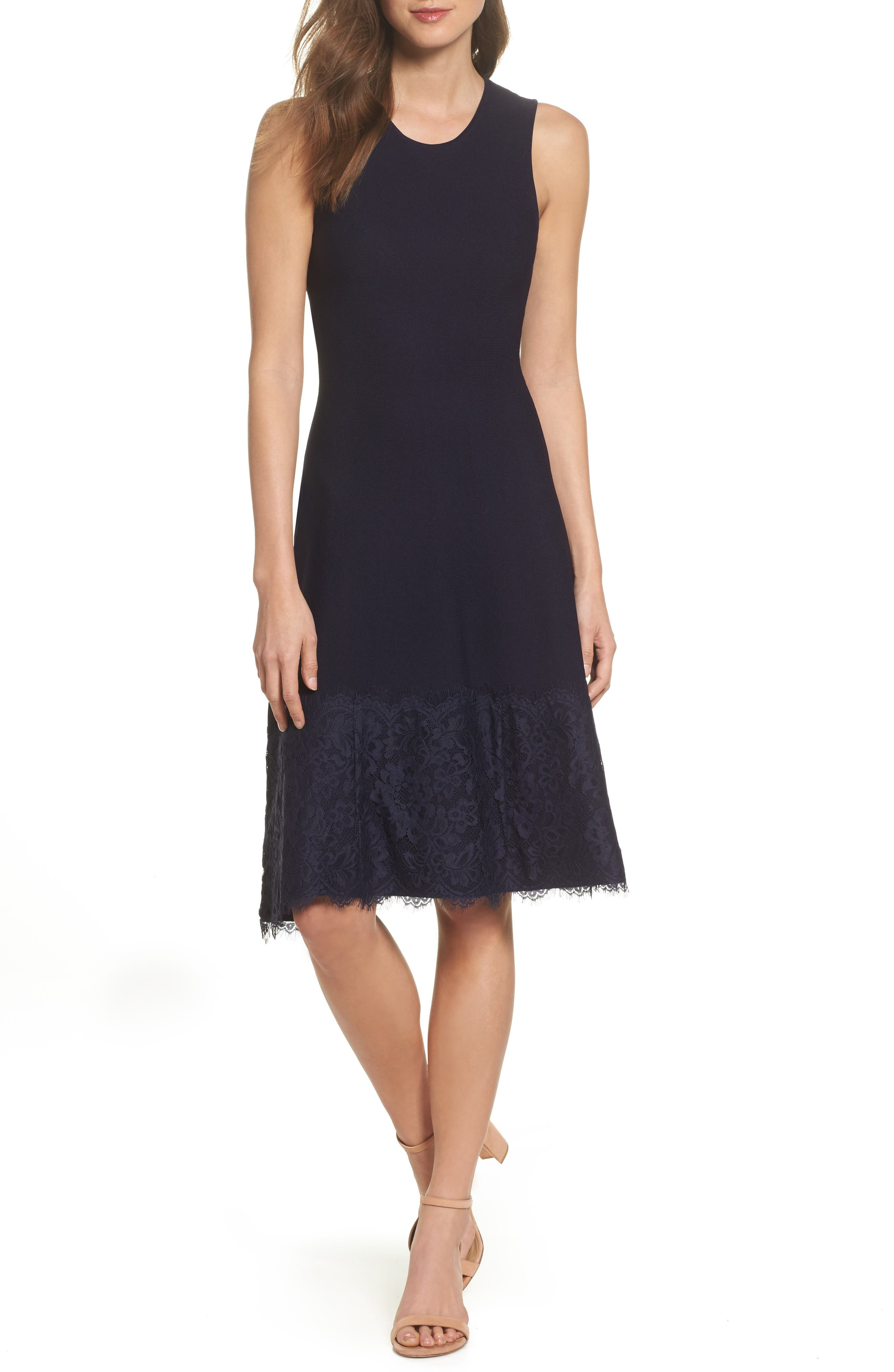 Image of Eliza J Lace Hem Fit & Flare Dress