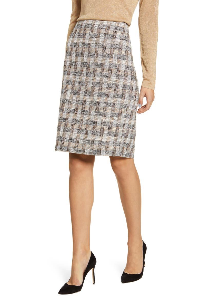 ANNE KLEIN Tweed Pencil Skirt, Main, color, 250