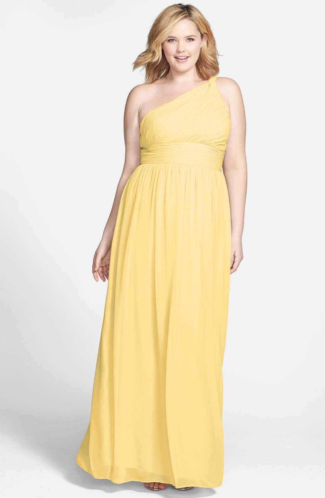,                             'Rachel' Ruched One-Shoulder Chiffon Gown,                             Main thumbnail 121, color,                             734
