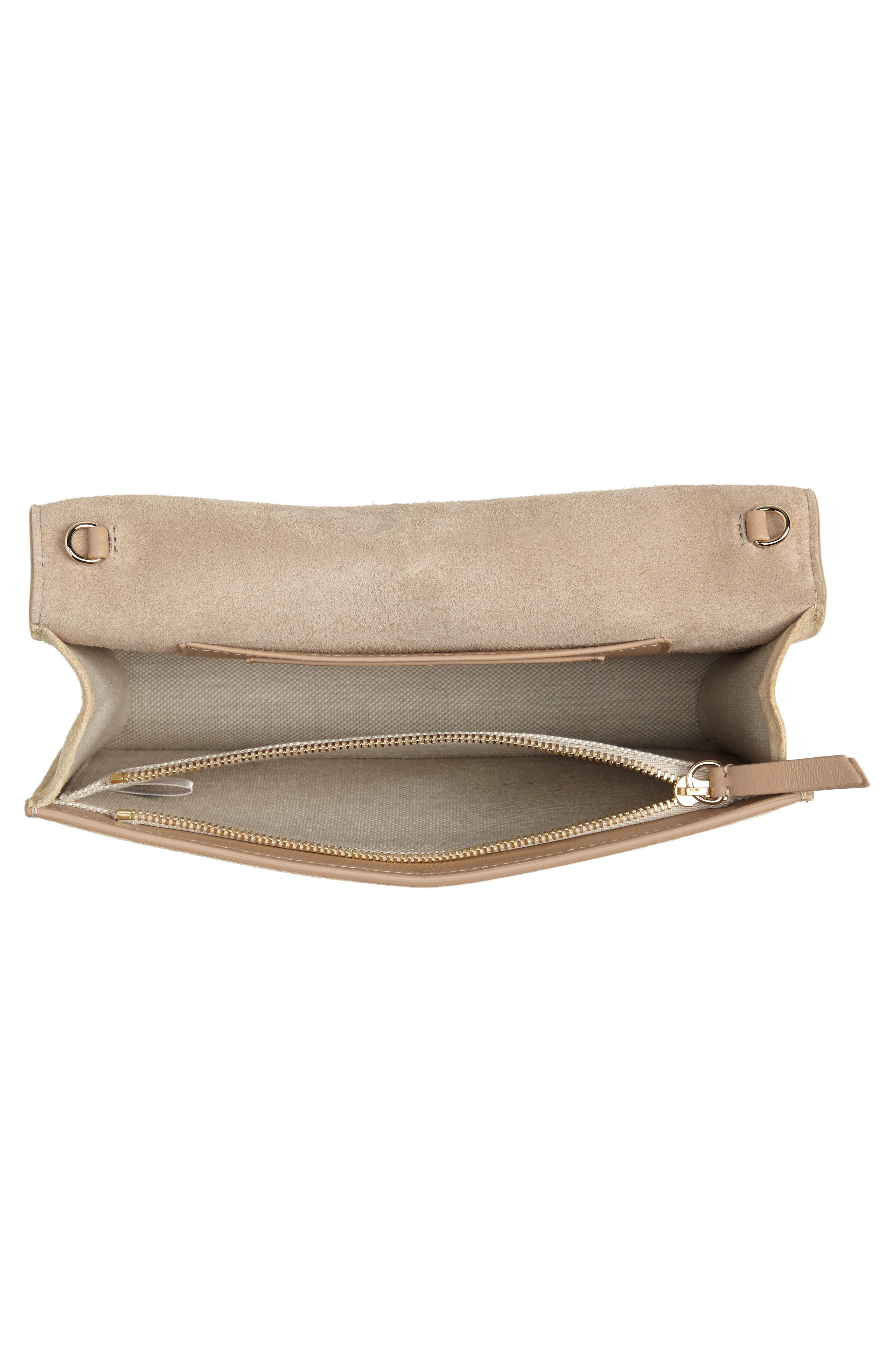 ,                             Lizzie Patent Leather & Suede Clutch,                             Alternate thumbnail 4, color,                             NUDE