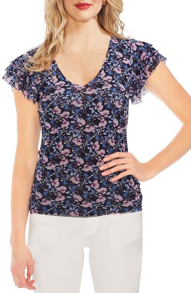 VINCE CAMUTO Floral Mesh Ruffle Sleeve Top, Main, color, 407