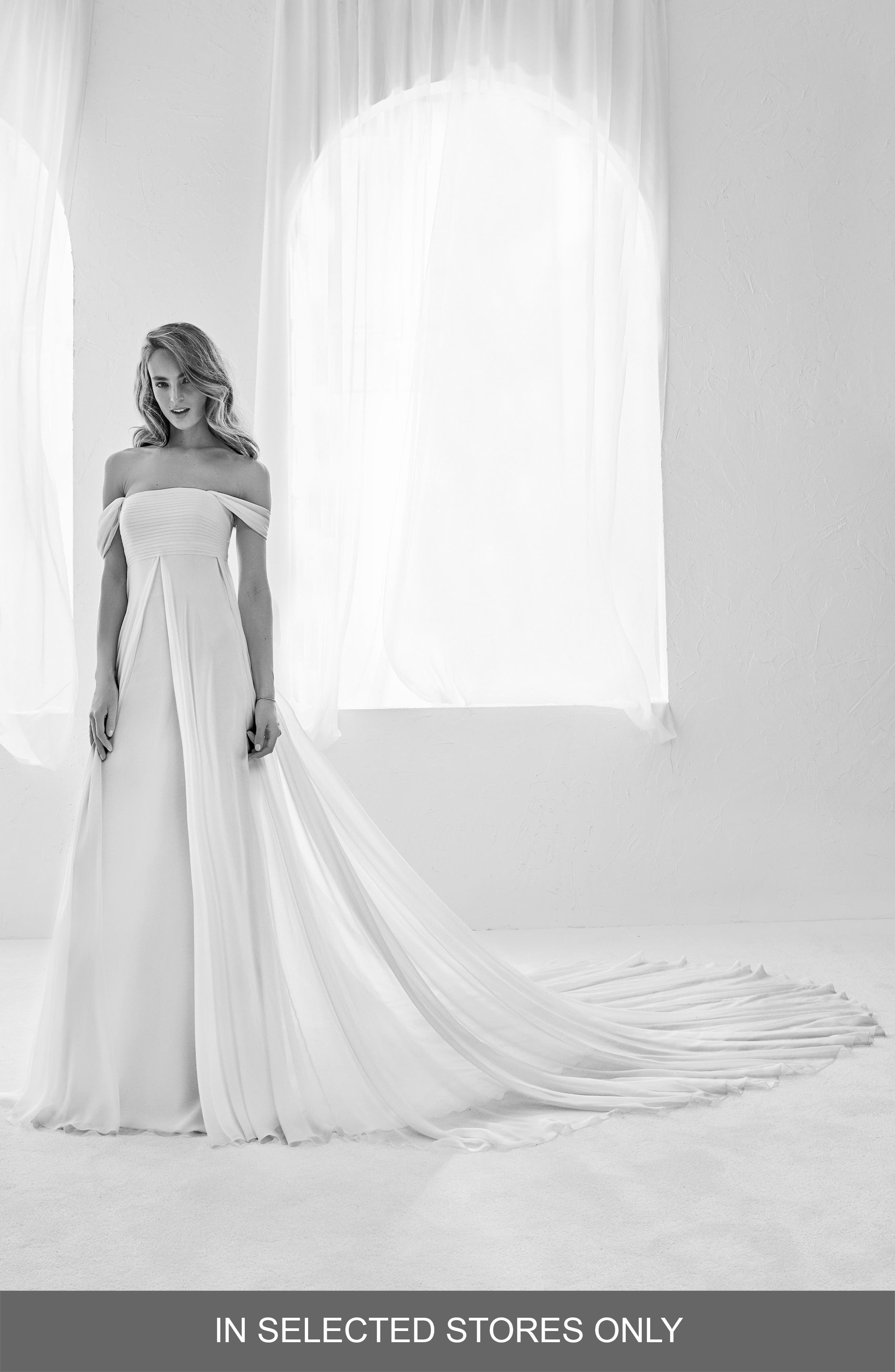 Atelier Pronovias Raggio Off The Shouder Silk Empire Gown, Size IN STORE ONLY - Ivory