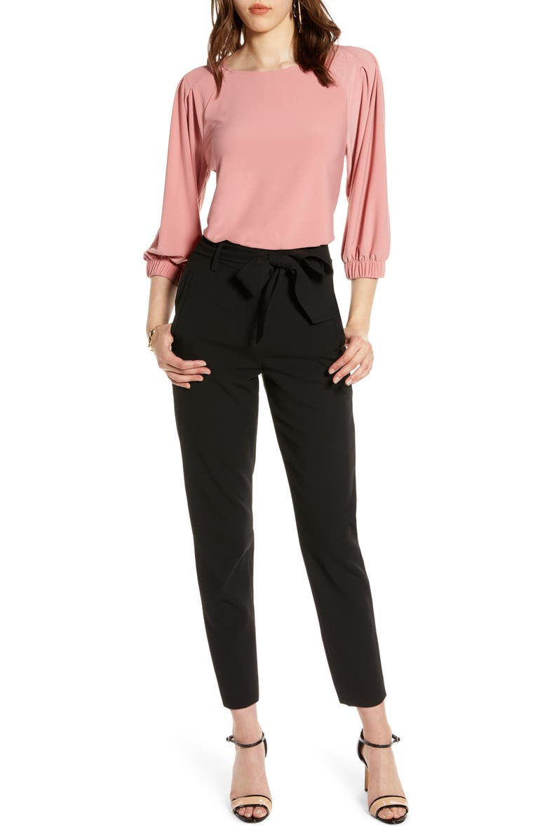 HALOGEN<SUP>®</SUP> Banded Sleeve Knit Top, Main, color, PINK COMPACT