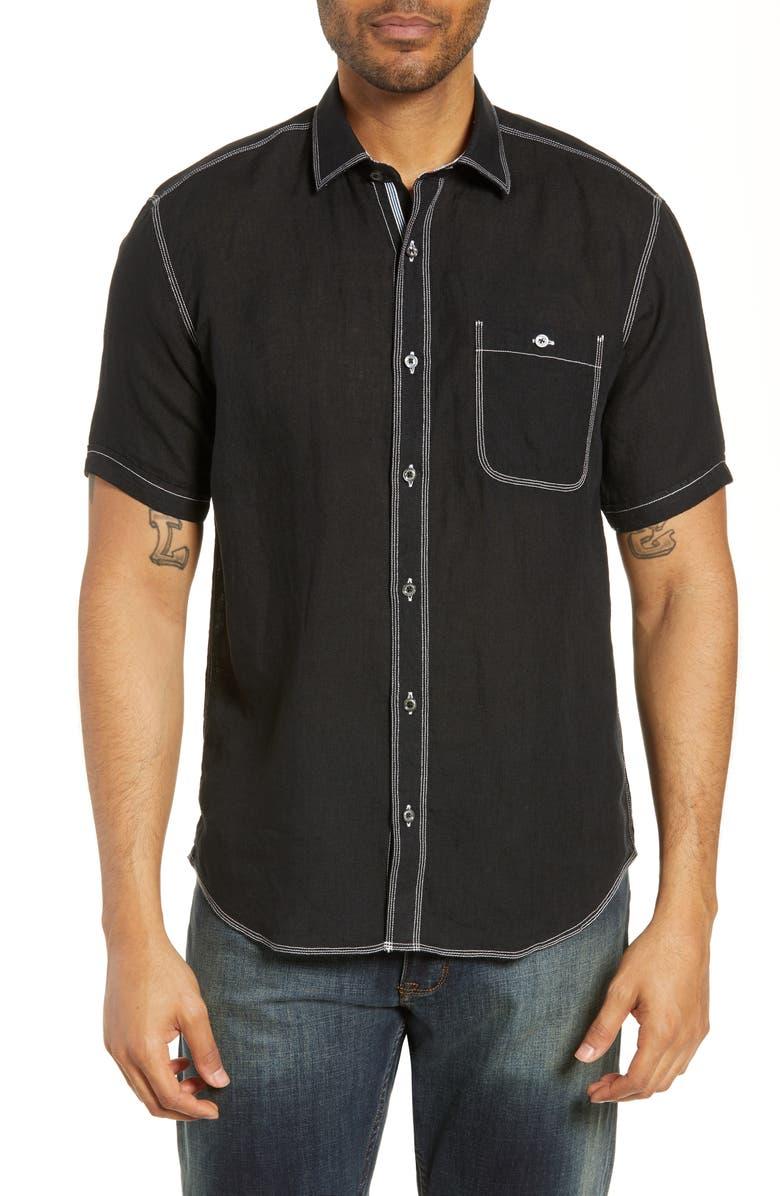 BUGATCHI Shaped Fit Cotton Shirt, Main, color, BLACK