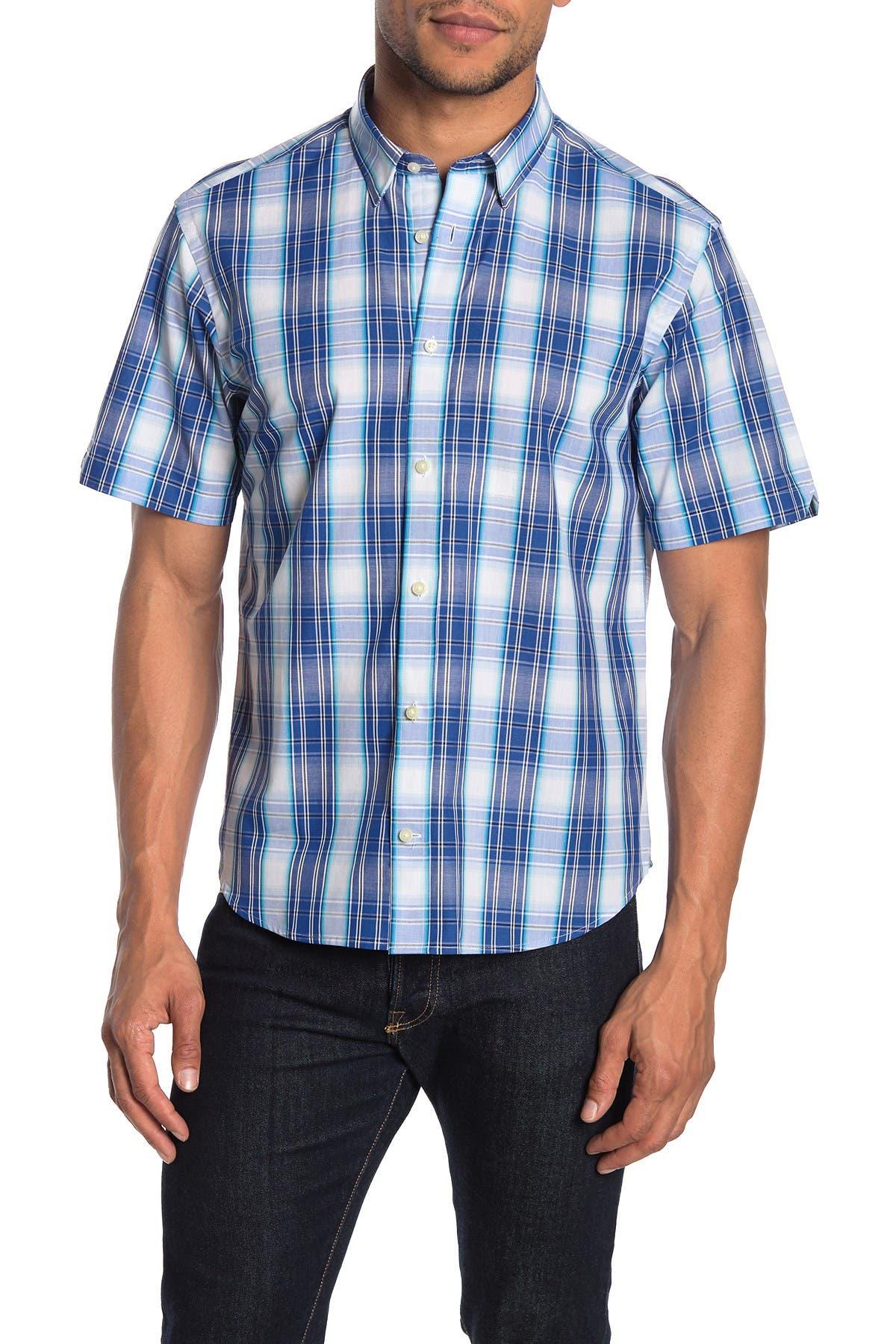 Image of Thomas Dean Plaid Short Sleeve Regular Fit Shirt
