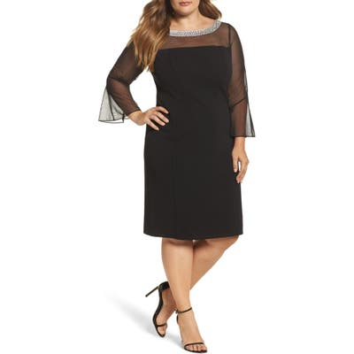 Plus Size Alex Evenings Embellished Illusion Shift Dress, Black