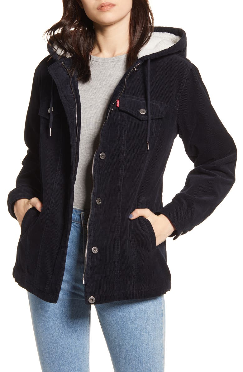 LEVI'S<SUP>®</SUP> Hooded Corduroy Trucker Jacket with Faux Shearling Lining, Main, color, NAVY