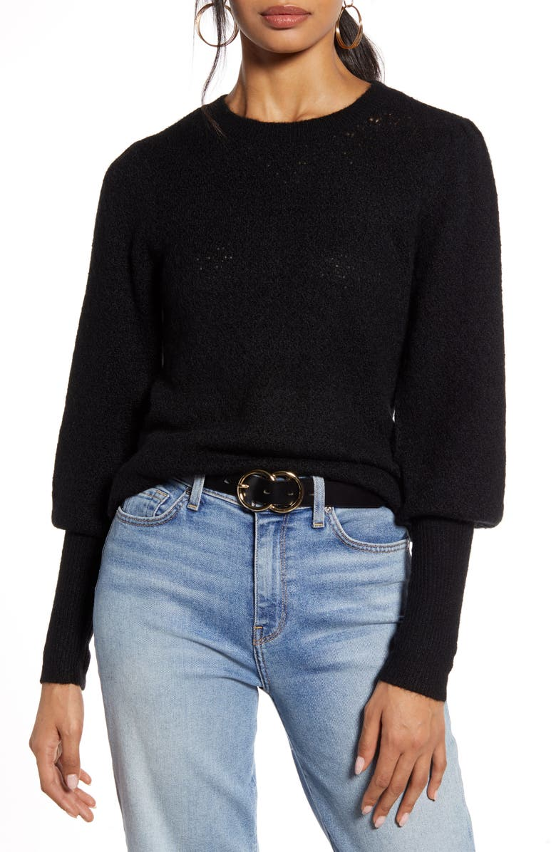 HALOGEN<SUP>®</SUP> Pointelle Sweater, Main, color, BLACK