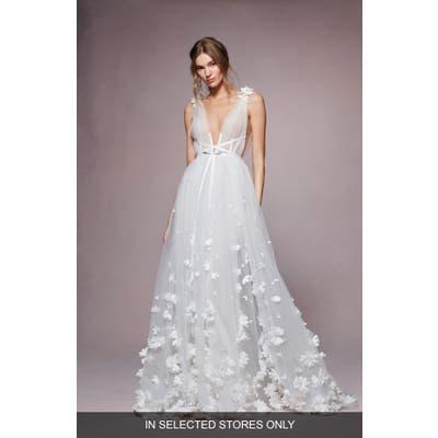 Marchesa Notte Kyla 3D Flower A-Line Wedding Dress, Size - Ivory