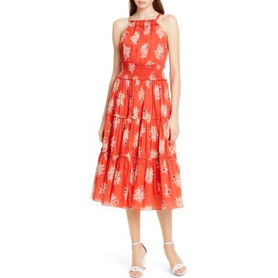 La Vie Rebecca Taylor Catrine Halter Top Cotton Dress, Red