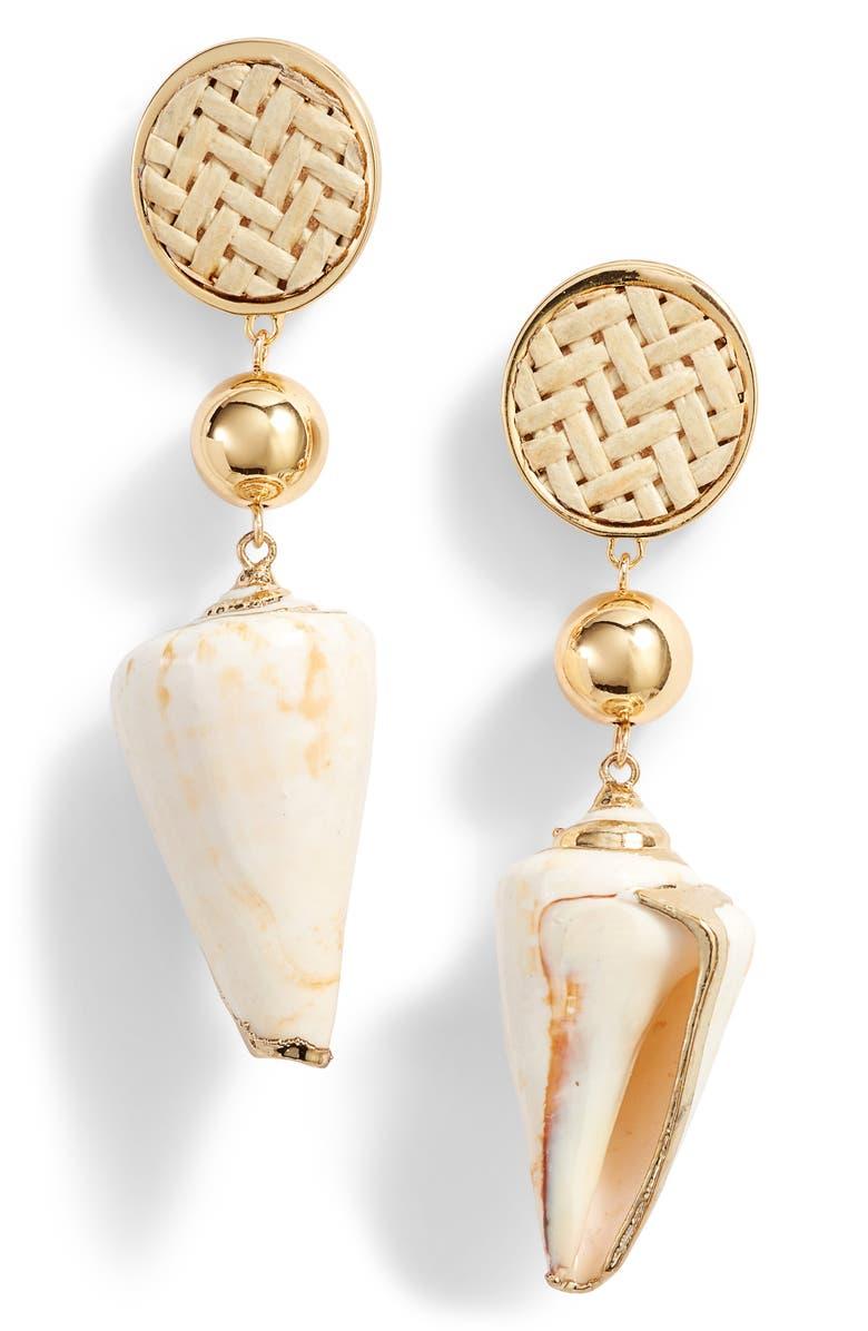 ETTIKA Shell Drop Earrings, Main, color, WHITE
