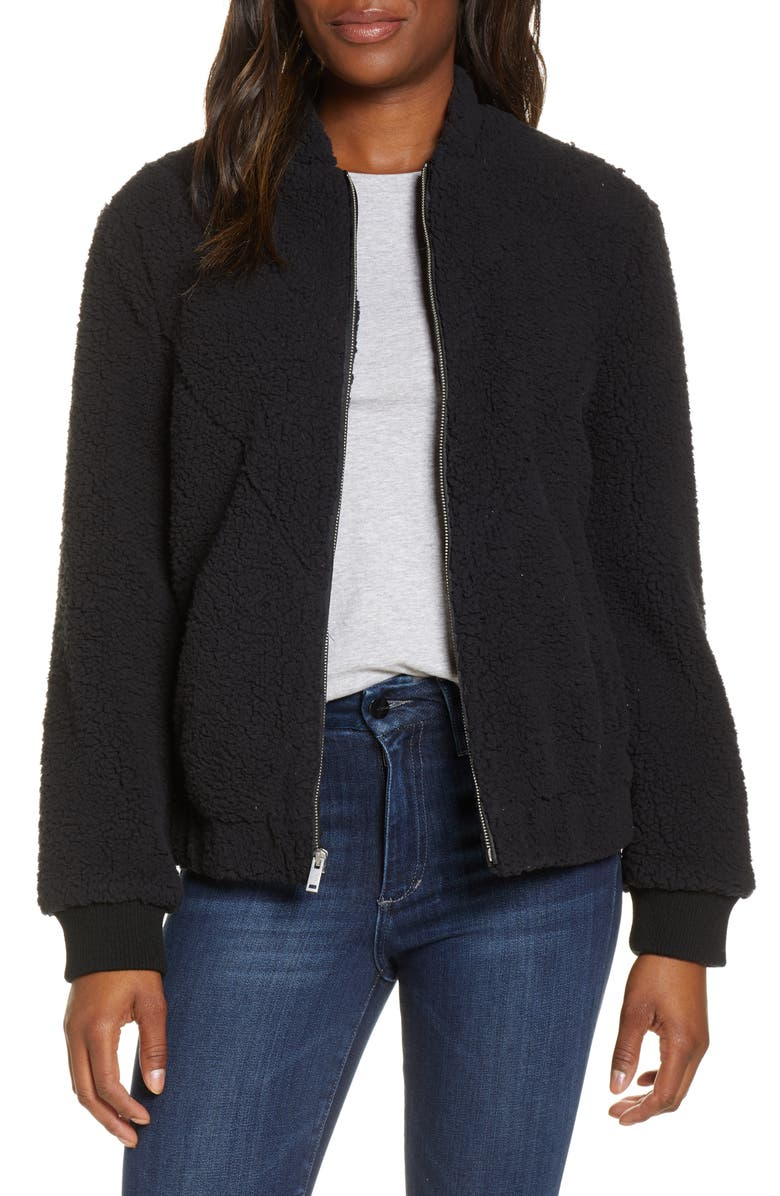 UGG<SUP>®</SUP> Annalise Faux Shearling Teddy Jacket, Main, color, BLACK