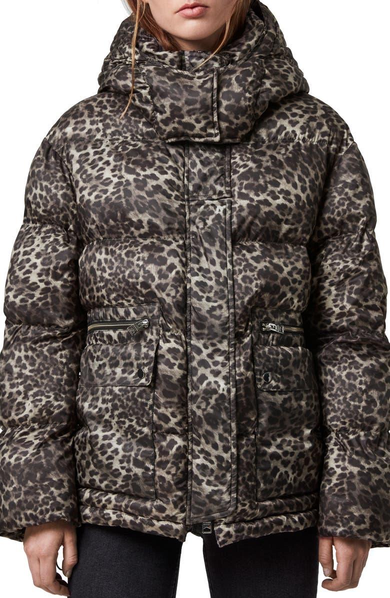 ALLSAINTS Kala Leopard Puffer Coat, Main, color, BROWN