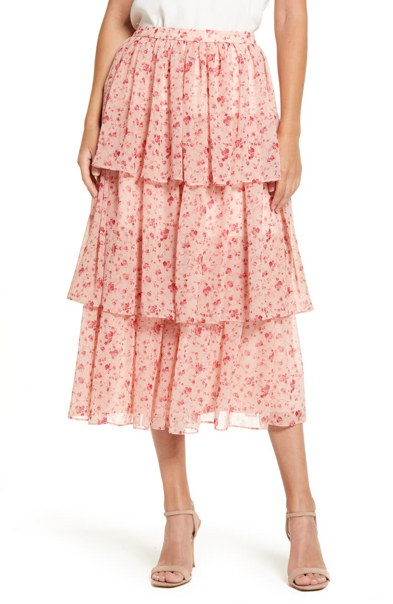RACHEL PARCELL Print Tiered Ruffle Skirt, Main, color, PINK SMOKE ROSE VINE