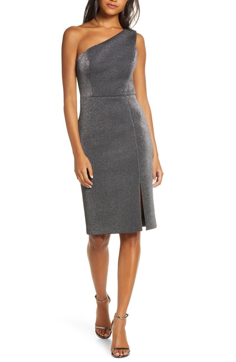 VINCE CAMUTO One-Shoulder Metallic Body-Con Dress, Main, color, SILVER