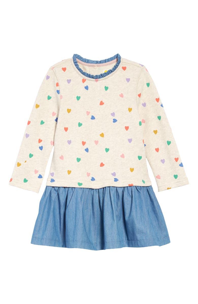 MINI BODEN Sweatshirt Dress, Main, color, CHAMBRAY/ HEART