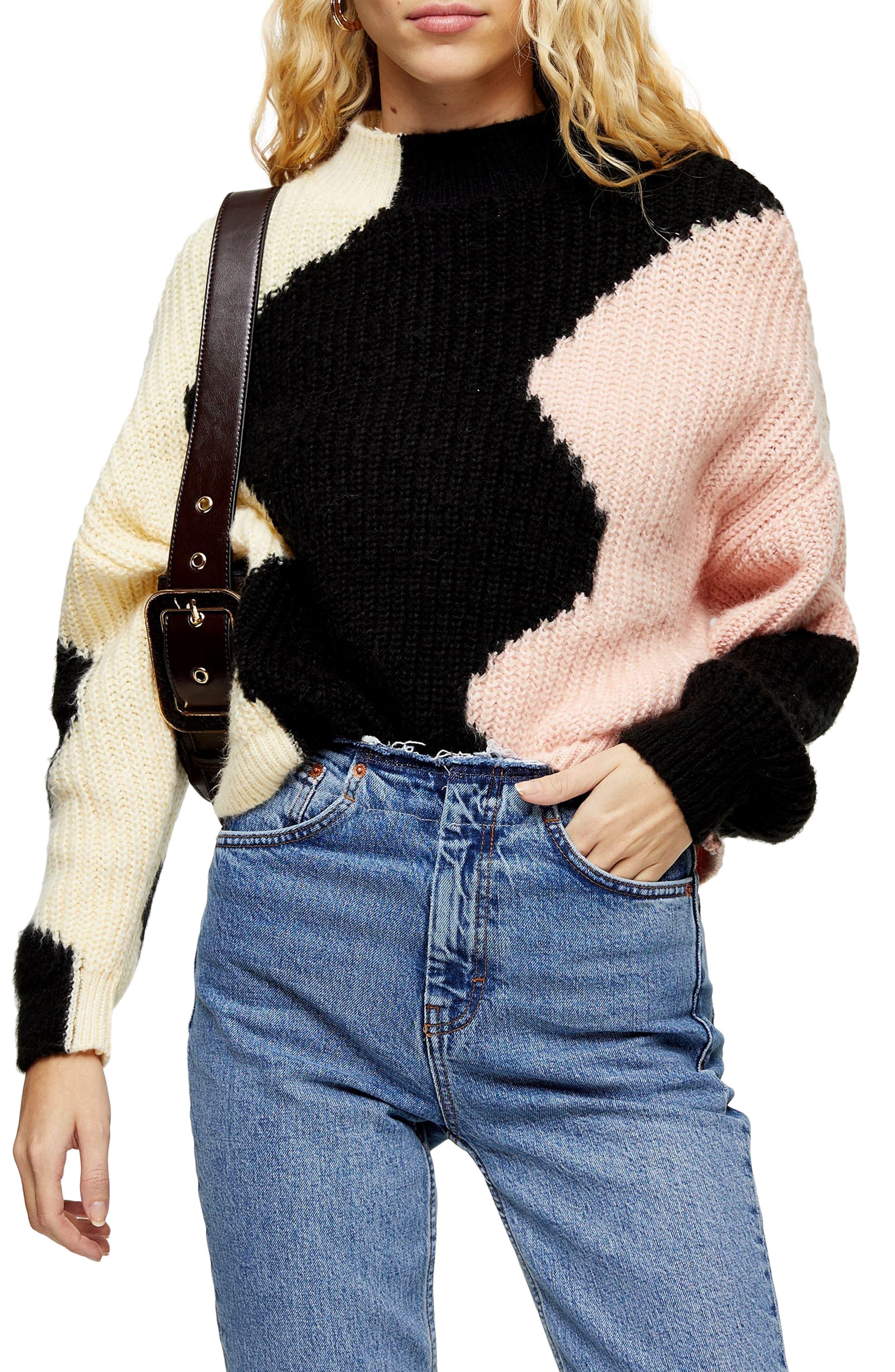 Topshop Wave Pattern Mock Neck Sweater