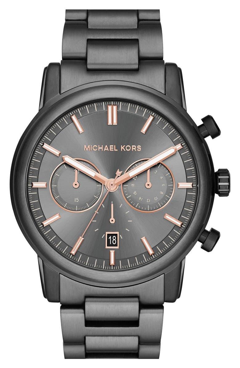 MICHAEL MICHAEL KORS Michael Kors 'Pennant' Chronograph Bracelet Watch, 43mm, Main, color, 020