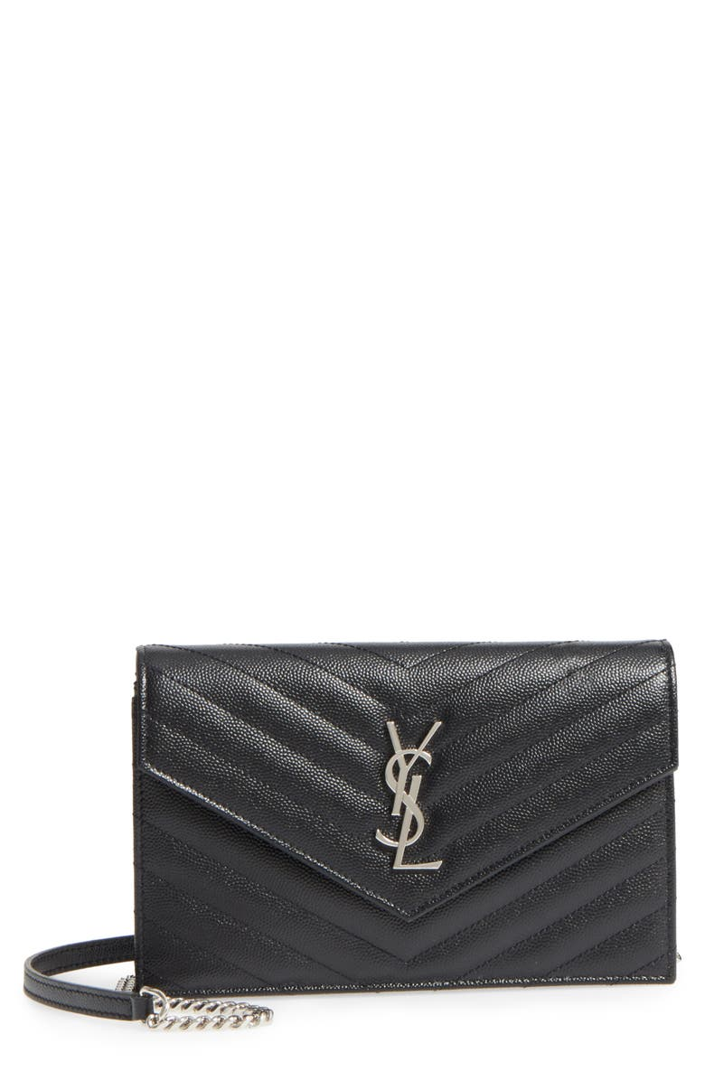 SAINT LAURENT Quilted Calfskin Leather Wallet on a Chain, Main, color, NOIR