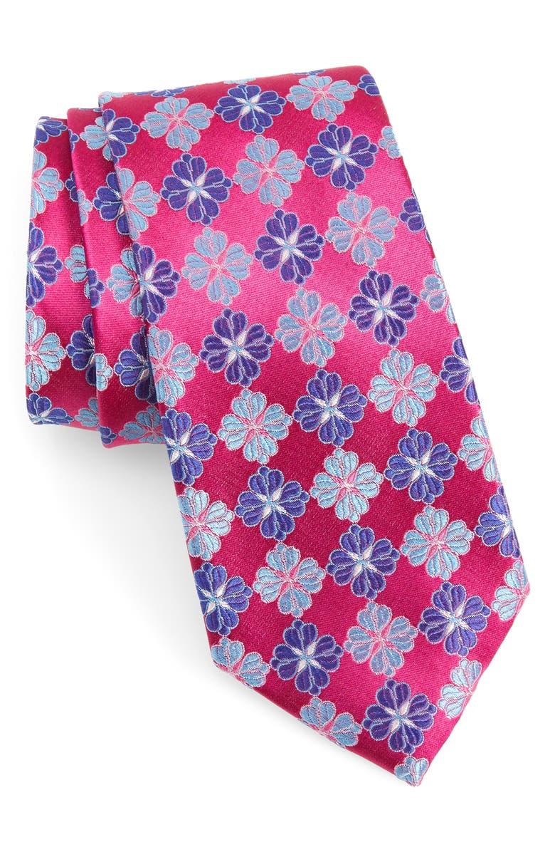 NORDSTROM MEN'S SHOP Cole Floral Silk Tie, Main, color, FUSCHIA