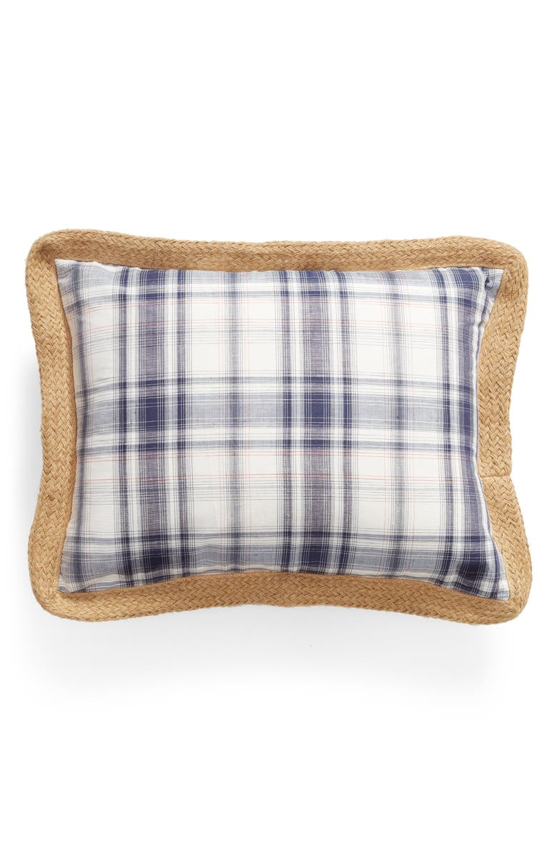 LEVTEX Shirting Plaid Accent Pillow, Main, color, BLUE
