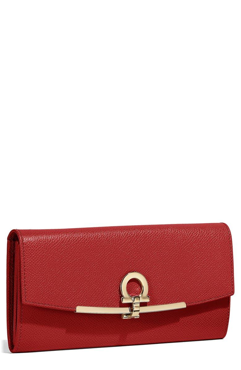 SALVATORE FERRAGAMO Icona Calfskin Leather Wallet, Main, color, LIPSTICK