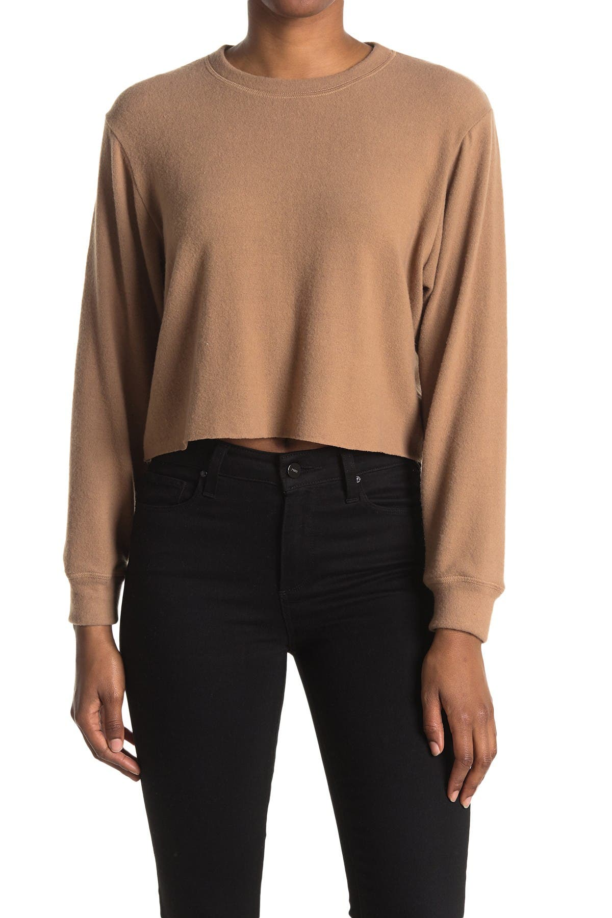Image of LA LA LAND CREATIVE CO Brushed Knit Cropped Pullover