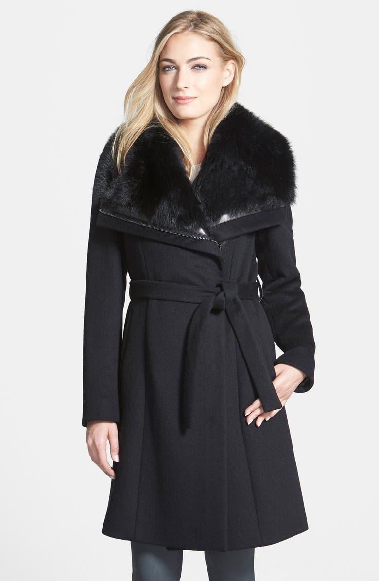 DIANE VON FURSTENBERG 'Janice' Genuine Toscana Shearling Trim Wool Blend Coat, Main, color, 001