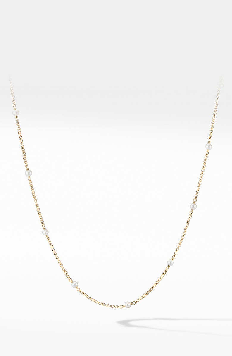 DAVID YURMAN Cable Collectibles<sup>®</sup> Bead & Chain Necklace in 18K Yellow Gold with Pearls, Main, color, YELLOW GOLD/ PEARL