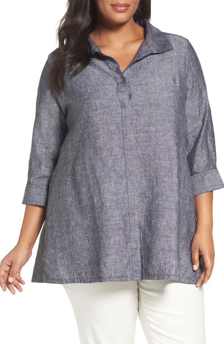 FOXCROFT Chambray Linen Tunic Shirt, Main, color, BLACK