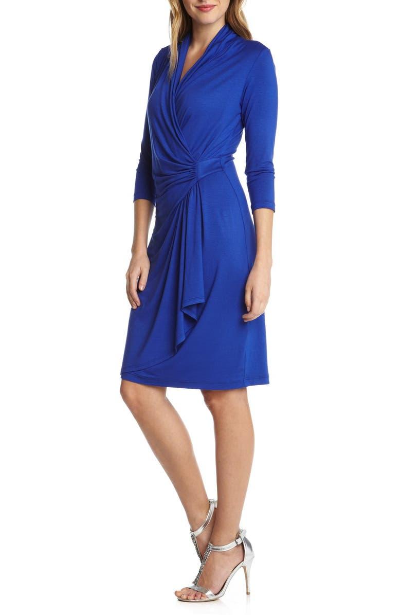 KAREN KANE Cascade Faux Wrap Dress, Main, color, 435