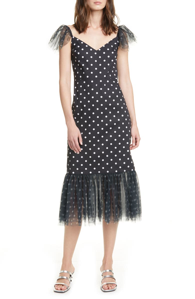 STAUD Marwa Polka Dot Tulle Trim Midi Dress, Main, color, BLACK DOR