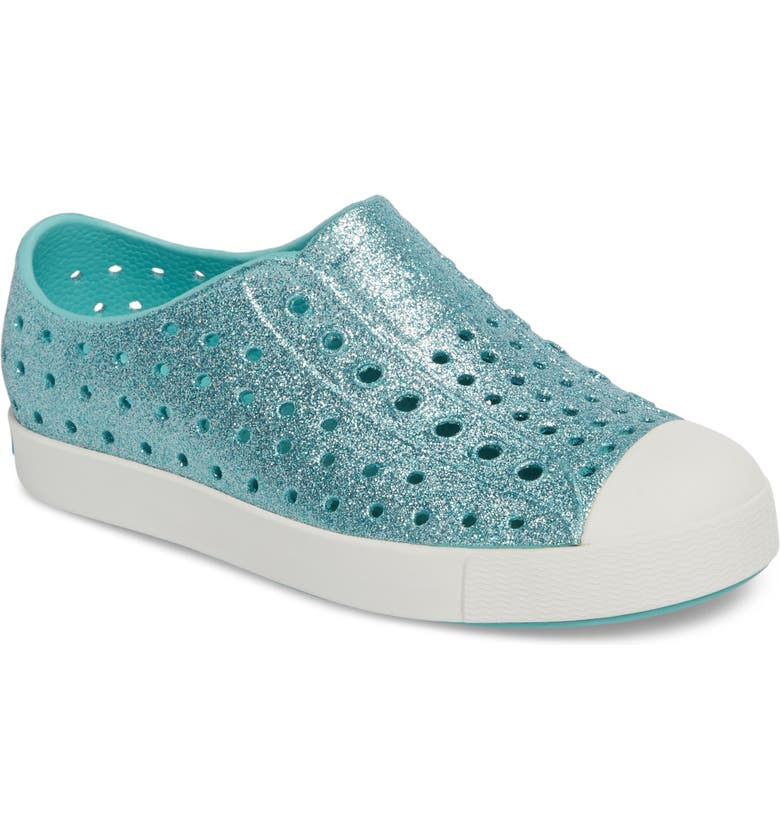 NATIVE SHOES Jefferson Bling Glitter Slip-On Vegan Sneaker, Main, color, POOL BLING/ SHELL WHITE