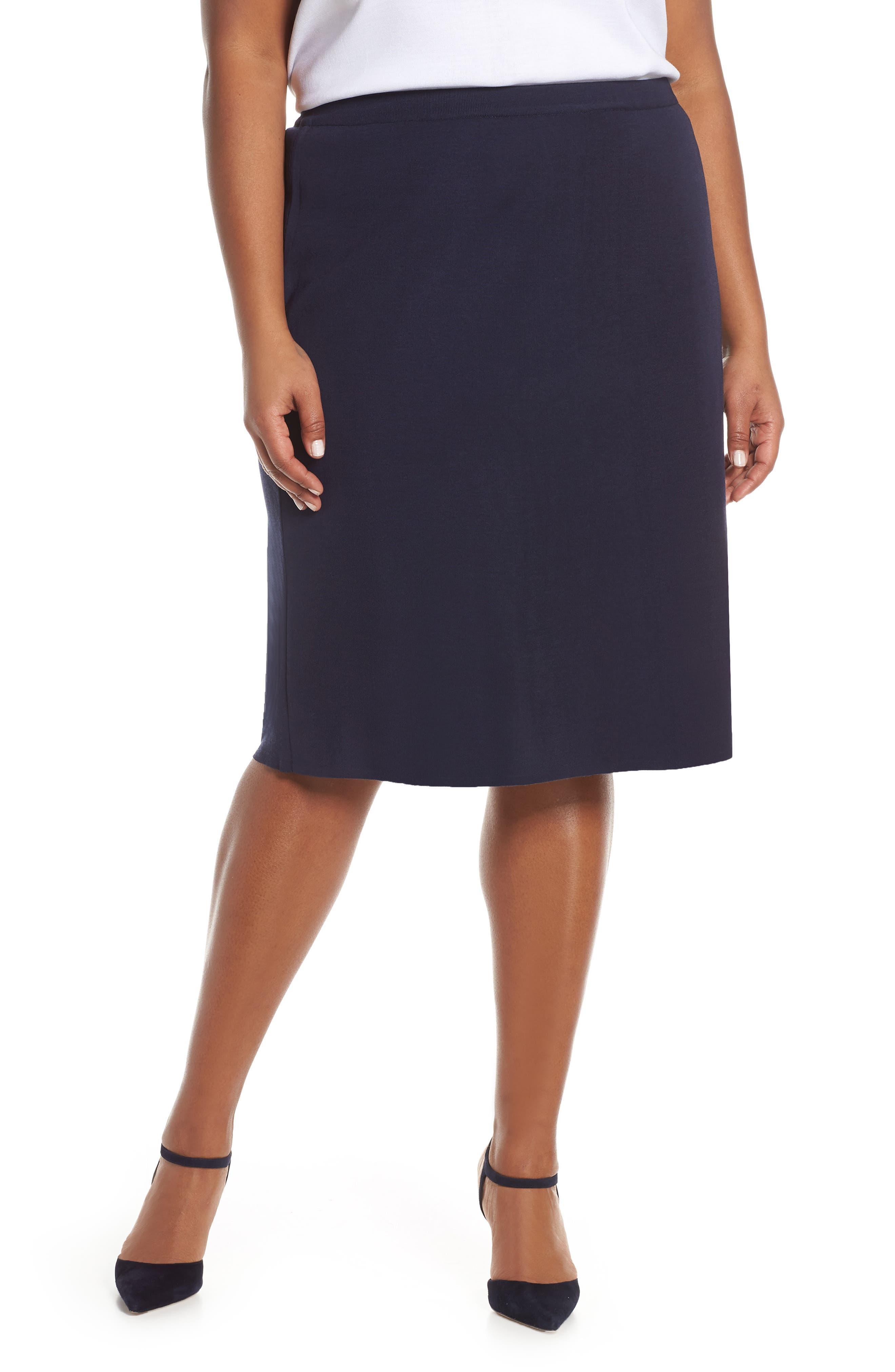 Plus Size Ming Wang Straight Skirt, Blue